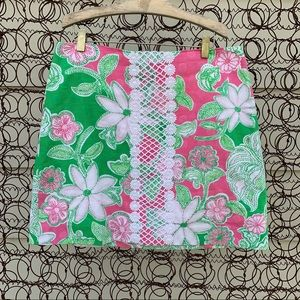 Lilly Pulitzer pink green tropical lace skirt